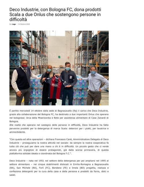 Deco Industrie, con Bologna FC, dona prodotti Scala a due Onlus che sostengono persone in difficoltà