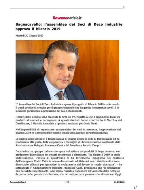 Deco Industrie approvato bilancio 2019
